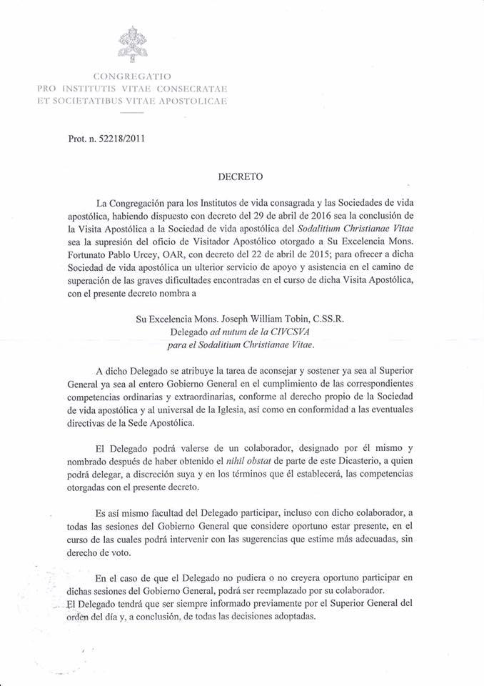 Decreto sobre el Sodalicio de Vida Cristiana del CIVCSVA (a) - Noticias del Sodalicio