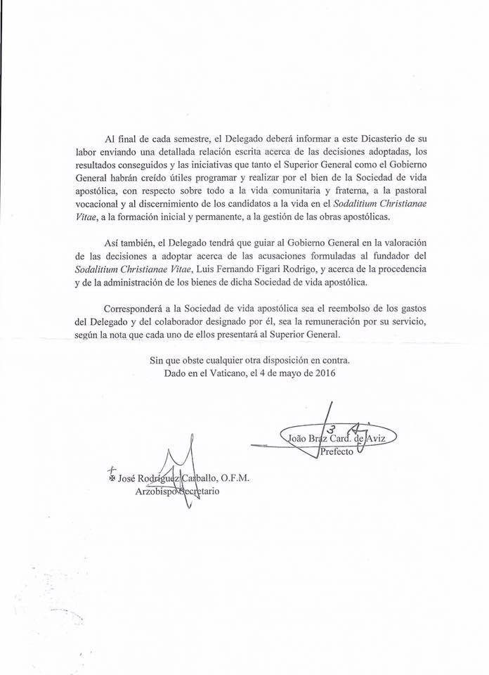 Decreto sobre el Sodalicio de Vida Cristiana del CIVCSVA (b) - Noticias del Sodalicio